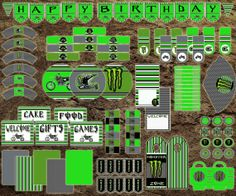 MONSTER Energy Dirt Bike Birthday Party Pack Decorations Kit Instant Download