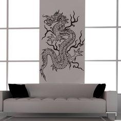 Asian Dragon Vinyl Decal Tattoo Style-Feng Shui-Vinyl Wall Art.