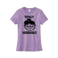 Totally Adorkable T-Shirt Kawaii Clothing Cute Anime Shirt Geek Tee... ($20) ❤ liked on Polyvore featuring tops, t-shirts, shirts, black, women's clothing, thick t shirts, black top, black t shirt, black shirt and animal shirts