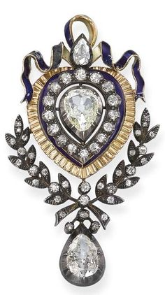 An Antique Diamond and Enamel Brooch. Set with a central pear-shaped diamond within an old-cut diamond, blue enamel and textured gold surround to the blue enamel ribbon surmount and old-cut diamond foliate trim suspending an articulated pear-shaped diamond pendant, mounted in silver and gold, circa 1890, 8.0 cm long.