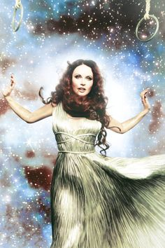 Sarah Brightman wearing Oscar de la Renta for her fashion shoot with Ellen von Unwerth.