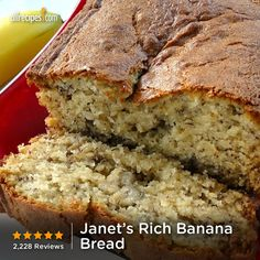 Janet's Rich Banana Bread | Make use of those prime overripe bananas! Moist and crumbly banana bread is great for breakfast or snack.
