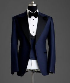 AL Formal Season Is Here! Classic Staple Tuxedo Be Different Anyone Can Wear a Black Tuxedo. Blue Groomsmen Suits, Navy Tuxedos, Blue Tuxedo Wedding, Wedding Suits, Wedding Attire, Tuxedo Suit, Tuxedo For Men, Black Tuxedo, Mens Fashion Suits