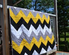 Modern Quilt, Chevron Yellow Gray Black Geometric Twin Quilt, Sports Quilt, Dorm Room Decor, Sofa Throw Blanket, Man Quilt, Yellow Bedding