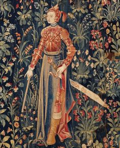 """""""Penthesilea, brave woman Detail of a tapestry in the Angers Castle"""""""