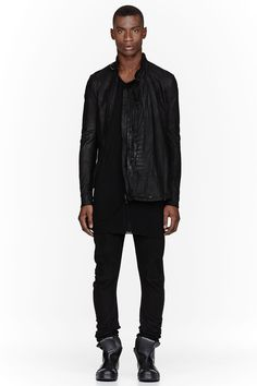 7f9279fd4ad JULIUS Black Nubuck Leather Zip Jacket Hair And Beard Styles