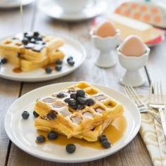 Serve these tasty waffles topped with extra fresh blueberries, maple syrup, and some grass-fed butter, if desired.