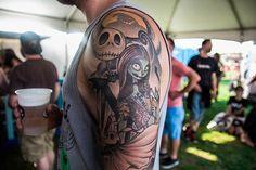 """Nightmare Before Christmas"" half sleeve done by Jay Phoenix at Phoenix Ink Tattoo in Plantsville #InkedMagazine #NBC #NightmareBeforeChristmas #tattoo #tattoos #art"