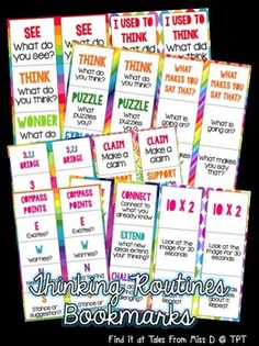 Promote visible thinking in your classroom with this Thinking Routines Bookmark pack. Routines; 1) See, Think, Wonder 2) I used to think... 3) Think, Puzzle, Explore 4) What makes you say that? 5) 3-2-1 Bridge 6) Claim, Support, Question 7) Connect, Extend, Challenge 8) 10 x 2 9) Compass Points