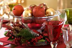 christmas tree ornaments as centerpieces