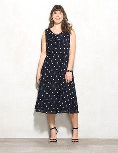 Plus Size Belted Polka-Dot Dress