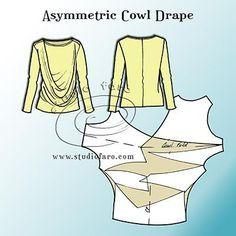 Modelo del rompecabezas - asimétrico drapeado de la capucha
