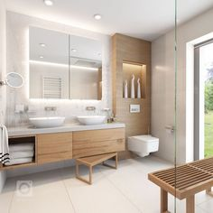white tile in guest bathrooms upstairs H- white sinks sunk in to counter. BE… white tile in guest bathrooms upstairs H- white sinks sunk in to counter. Guest Bathrooms, Bathroom Spa, Wood Bathroom, Bathroom Renos, White Bathroom, Modern Bathroom, Bathroom Cabinets, Bathroom Storage, Master Bathroom