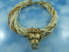 Vintage Golden Lion Head Crystal & Faux Pearl Statement Necklace