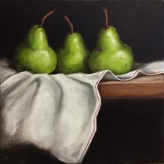FineArtSeen - Three Pears on cloth by Jane Palmer. This original still life painting would make a great fit for your kitchen or home and comes from the collection on FineArtSeen. Click to view more art at great prices from the Home Of Original Art. << Pin For Later >>