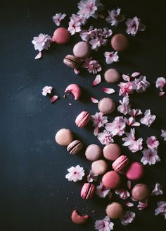 I don't really want to eat this... but it's SO pretty! Recipe: Cherry Blossom Macarons with Black Sesame KINFOLK