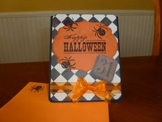 Hand made Halloween card distressed Happy Halloween checkered background via Etsy