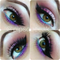 Products used-  MAC Sushi Flower & Sketch (crease)  Unique Style's Boutique Rarity (under brow and inside corner) & Purple Rain (bottom lid)  BFTE Cosmetics Lava Momma (outer corner of lid) & Chenille (middle lid)  Maybelline Gel Liner  Teal Kohl Liner (hello kitty brand)  House of Lashes 'Feline' Lashes!!