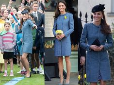 The Duchess bought the light blue coat several years ago at Bicester village. The collarless, knit bouclé piece features fringe trim. It is from the Autumn/Winter 2010 Collection.