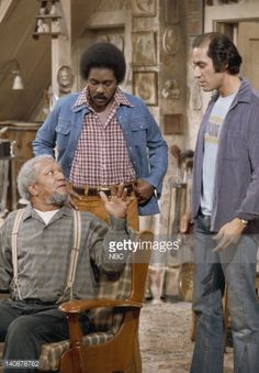 SON 'The Merger' Episode 14 Aired 12/20/74 Pictured Redd Foxx as Fred G Sanford Demond Wilson as Lamont Sanford Gregory Sierra as Julio Fuentes Photo...