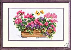 Floral Pot Geraniums - Cross Stitch Kits by VERVACO - PN-0011823