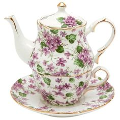 Summer Rose Chintz Porcelain Tea for One Set - Roses And Teacups Violet Chintz Porcelain Tea for One Tea For One, My Cup Of Tea, Tea Cup Set, Tea Cup Saucer, Silver Tea Set, Teapots And Cups, Teacups, Royal Tea, Fru Fru