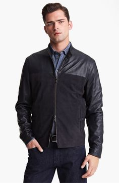 Armani Collezioni Perforated Lambskin Leather Jacket | Nordstrom