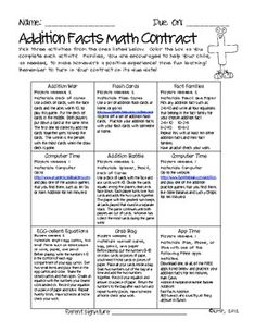 Homework to promote math fact fluency! Math Contracts for Addition Facts {Homework to Master Math Facts} $2.50