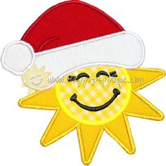 Happy Applique Santa Sun Applique Design