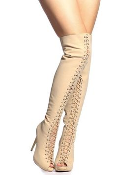 Nude Woven Lace Up Open Toe Thigh High Boots