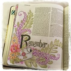 "Esther 9 ""Remember"" in #journalingBible #faithart"