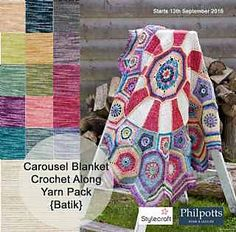 """Carousel Blanket CAL (Crochet ALong) 2016 (Sept. 13 - Nov. 15) - Created By Sue Pinner - Free Crochet Pattern - In US & UK Terms, and also in German and Dutch. May use the Designer's colors or your own. ***Make sure to join the Facebook Group """"Official Stylecraft Sue Pinner CAL"""" (link on the Ravelry page also) for help, ideas, support, so much more!! ... it's a great Group with wonderful people!!!"""
