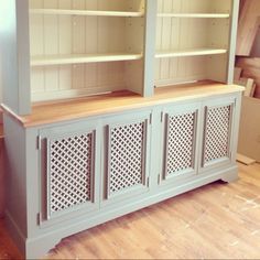 Radiator cover / dresser, painted in Farrow & Ball {lime white & pigeon} by Ross Trent Cabinet Maker UK Kitchen Radiator, Best Radiators, Radiator Cover, Radiator Shelf, Kitchen Wall Colors, Shabby Chic Kitchen, Built In Storage, Tiny Living, Cabinet Design