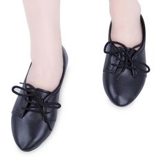 Womens Leather Low Heel Flats Lace Up Pointy Toe Ballerina Ballet Pumps Shoes