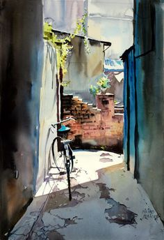 Art Of Watercolor: Millind Mulick. Watercolor City, Watercolor Sketchbook, Watercolor Landscape Paintings, Watercolor Artists, Painting Abstract, Acrylic Paintings, Landscape Art, Balloon Painting, Watercolor Architecture