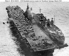 Jason assisting USS Randolph after a Kamikaze hit at Ulithi, 1945.Photographed from a USS Miami (CL-89)