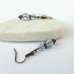 Blue crystal and bronze earrings £6.00