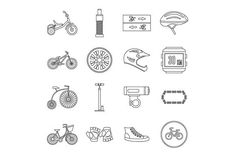 Biking icons set, outline style. Objects. $5.00