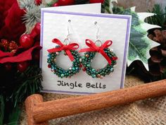 Tutorial for Kumihimo Christmas Wreath Earrings Instant Download PDF Beading Pattern by BettyRoseTutorials on Etsy https://www.etsy.com/listing/259746239/tutorial-for-kumihimo-christmas-wreath