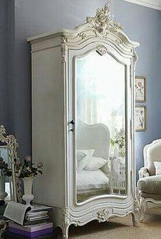 """Nowadays, more and more people are utilizing the """"shabby chic"""" approach to interior design and decoration. Style At Home, French Armoire, White Armoire, Vintage Armoire, Vintage Closet, Bedroom Vintage, French Mirror, Shabby Vintage, Painted Armoire"""