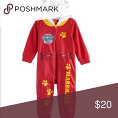 PAW Patrol Marshall Hooded Pajamas Size 6 PAW Patrol Marshall Hooded Blanket Pajama Sleeper   Product Description:  If he's a Paw Patrol fan, he'll love this boys' suit.   Product Details:  One-piece styling Size: 6 Full-zip front Ribbed cuff Fleece fabric Long sleeves Brand: Nickelodeon  Color: Red & White  Fabric & Care:  Polyester Machine wash Imported  Condition: New with Tags Nickelodeon Pajamas