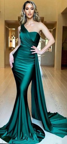 Sexy Mermaid One Shoulder Green Long Prom/Evening Dress Sweep TrainThanks for this post.Sexy Mermaid One Shoulder Green Long Prom/Evening Dress Sweep Train sold by BeautyLady. Shop more products from BeautyLady on Storenvy, the # dress Jovani Dresses, Gala Dresses, Cheap Prom Dresses, Satin Dresses, Elegant Dresses, Beautiful Dresses, Chiffon Dresses, Cheap Graduation Dresses, Vintage Formal Dresses