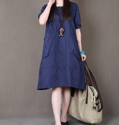 Women Dark Blue cotton linen dress short sleeve dress large size linen maxi dress casual linen maxi dress loose style plus size day dress