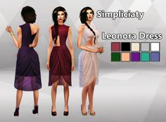 simpliciaty:  Leonora Dress  This is the dress that I made for my Daenerys Targaryen, idk why but it reminded me of her, that's why I made this edit [x] It comes in 10 colors that I thought it would look good for this style of dress, and the bottom part is see-through x3  DOWNLOAD: Leonora Dress: [x] Feel free to tag me in your post so I can see your sims with my dress and please leave a like/reblog if you download it! Thank you♥