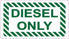 3.5x2 Diesel Only Sticker Vinyl Truck Decal Fuel Container Label Stickers