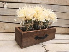 Rustic Reclaimed Wooden Drawer With Mason Jars, Reclaimed Box Crate, Rustic Jar Centerpiece, Rustic - Venue and reception decor (*Amazon Partner-Link)