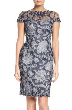7710a3c52a58 Tadashi Shoji Embroidered Lace Sheath Dress (Regular   Petite) available at   Nordstrom Čipkové