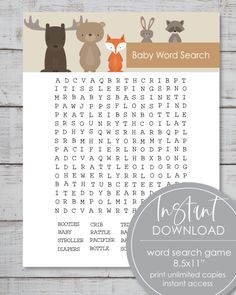 21 Printable Baby Shower Games - Super Game Pack - Woodland Watercolor Animals Theme - Print It Baby Baby Shower Candy, Baby Shower Prizes, Baby Shower Bingo, Woodland Animals Theme, Woodland Baby, Woodland Creatures, Jungle Animals, Classic Baby Books, Free Baby Shower Printables