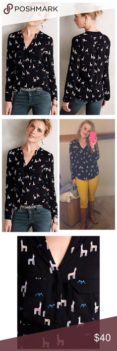 "Anthropologie Moonflower Henley Llama Print Effortless yet polished, Maeve's femme Henley pairs up perfectly with pop colored cords. Pullover styling. Rayon. 27""L worn once. I own two of these so letting one go💕 Anthropologie Tops"