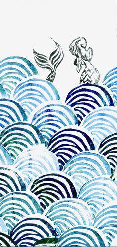 Sirène et vagues, une estampe marine sur papier recyclé par Green Martha / Serpentaires